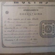 Documentos antiguos: COCENTAINA ALICANTE. MULTA 1952. Lote 123064492