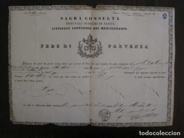 TRIBUNAL SUPREMO DE SANIDAD- LITORAL PONTIFICIO MEDITERRANEO-AÑO 1857 -VER FOTOS-(V-14.781) (Coleccionismo - Documentos - Otros documentos)