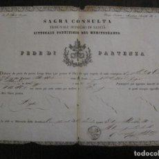 Documentos antiguos: TRIBUNAL SUPREMO DE SANIDAD- LITORAL PONTIFICIO MEDITERRANEO-AÑO 1857 -VER FOTOS-(V-14.781). Lote 123384751