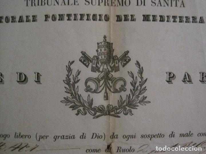 Documentos antiguos: TRIBUNAL SUPREMO DE SANIDAD- LITORAL PONTIFICIO MEDITERRANEO-AÑO 1857 -VER FOTOS-(V-14.781) - Foto 2 - 123384751