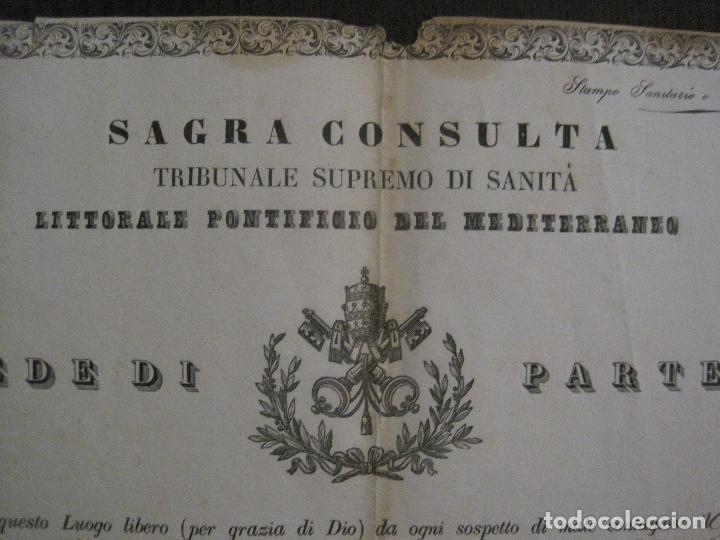 Documentos antiguos: TRIBUNAL SUPREMO DE SANIDAD- LITORAL PONTIFICIO MEDITERRANEO-AÑO 1857 -VER FOTOS-(V-14.781) - Foto 3 - 123384751