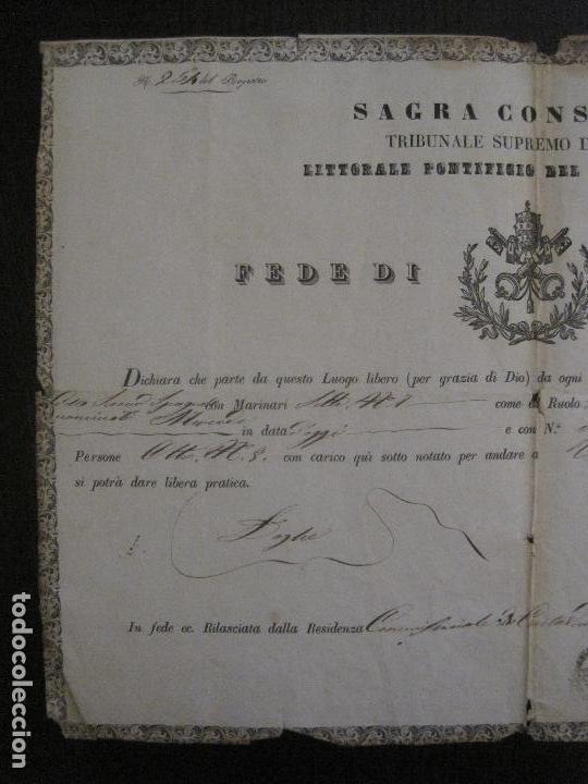 Documentos antiguos: TRIBUNAL SUPREMO DE SANIDAD- LITORAL PONTIFICIO MEDITERRANEO-AÑO 1857 -VER FOTOS-(V-14.781) - Foto 4 - 123384751