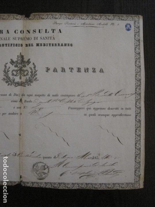 Documentos antiguos: TRIBUNAL SUPREMO DE SANIDAD- LITORAL PONTIFICIO MEDITERRANEO-AÑO 1857 -VER FOTOS-(V-14.781) - Foto 5 - 123384751