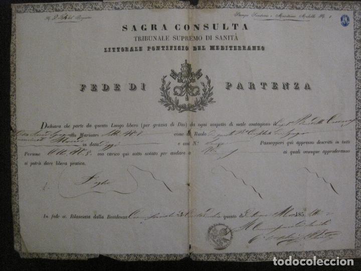 Documentos antiguos: TRIBUNAL SUPREMO DE SANIDAD- LITORAL PONTIFICIO MEDITERRANEO-AÑO 1857 -VER FOTOS-(V-14.781) - Foto 7 - 123384751