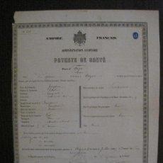 Documentos antiguos: PATENTE DE SANIDAD- IMPERIO FRANCES -AÑO 1867 -VER FOTOS-(V-14.782). Lote 123384871