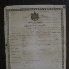 Documentos antiguos: PATENTE DE SANIDAD- IMPERIO FRANCES -AÑO 1865 -VER FOTOS-(V-14.783). Lote 123385019