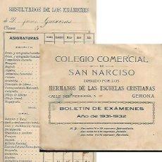 Documentos antiguos: BOLETÍN EXÁMENES AÑO 1931/ 32.COLEGIO COM. SAN NARCISO-HNOS ESCUELAS CRISTIANAS (GIRONA ) . Lote 123428991