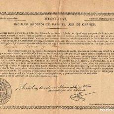 Documentos antiguos: INDULTO APOSTÓLICO PARA EL USO DE CARNES (1896). Lote 123569419