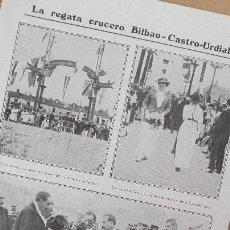 Documentos antiguos: HOJA REVISTA REGATA CRUCERO BILBAO CASTRO URDIALES REY ESPAÑA ALFONSO XIII CANTABRIA PERFECTA CONSER. Lote 123585047