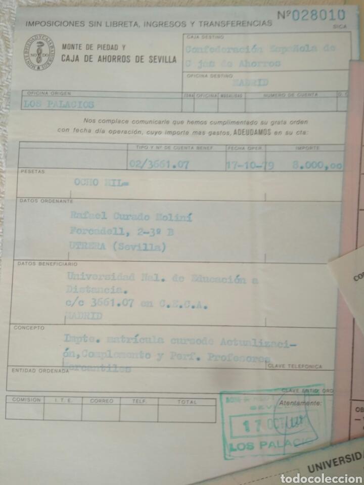 Documentos antiguos: RECIBOS.MATRICULA EJERCISIO PRESUPUESTARIO ETC VER FOTO AÑOS 70.CAJA AHORRO UNIVERSIDAD NACIONAL - Foto 2 - 123586934