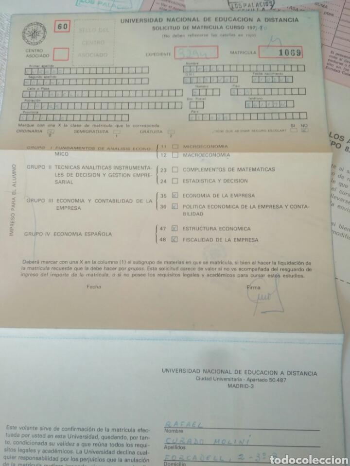 Documentos antiguos: RECIBOS.MATRICULA EJERCISIO PRESUPUESTARIO ETC VER FOTO AÑOS 70.CAJA AHORRO UNIVERSIDAD NACIONAL - Foto 3 - 123586934