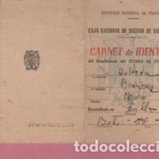 Documentos antiguos: CARTILLA DIPTICA INSTITUTO NACIONAL SEGURO ENFERMEDAD - SEVILLA 1949. Lote 124222495