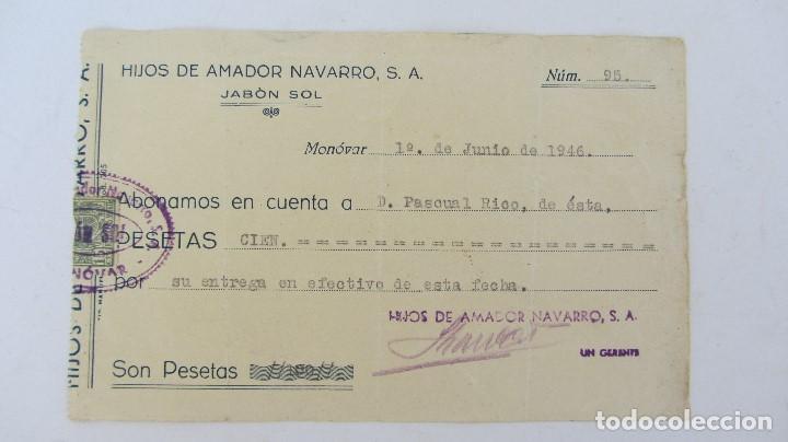 FACTURA , RECIBO JABON SOL - 1946 (Coleccionismo - Documentos - Otros documentos)