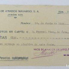 Documentos antiguos: FACTURA , RECIBO JABON SOL - 1946. Lote 124453151