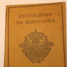 Documentos antiguos: CARNET DE IDENTIDAD ESCOLAR. UNIVERSIDAD DE BARCELONA. 1.931. TARJETA DE ADMISION. 1934.. Lote 124459171