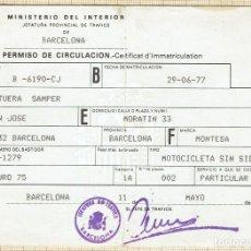 Documentos antiguos: PERMISO DE CIRCULACIÓN MOTOCICLETA SIN SIDECAR MONTESA ENDURO 75 - 1987.. Lote 132532767