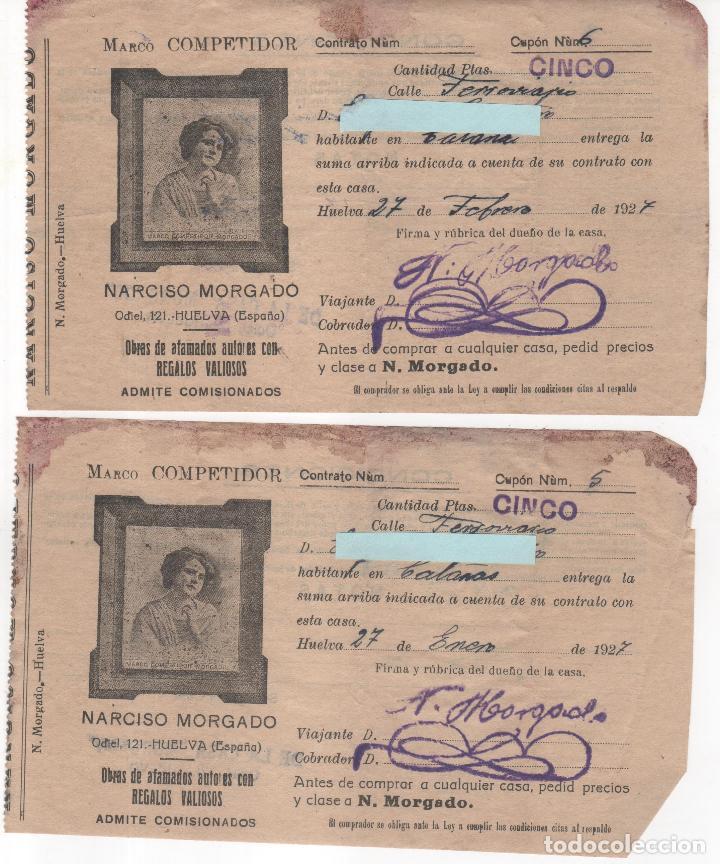 5 RECIBOS COMPRA DE ANTIGÜEDADES NARCISO MORGADO . HUELVA. AÑO 1926 Y 1927 (Coleccionismo - Documentos - Otros documentos)