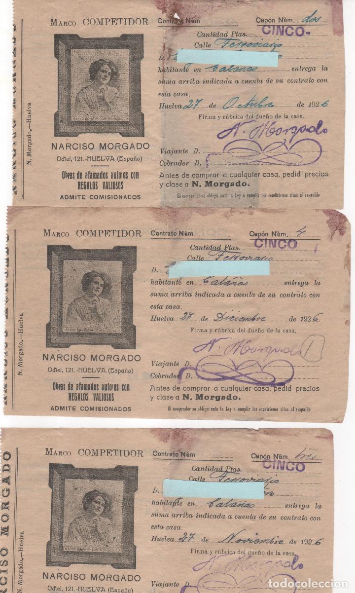 Documentos antiguos: 5 Recibos compra de Antigüedades Narciso Morgado . Huelva. Año 1926 y 1927 - Foto 2 - 124502699