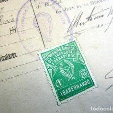 Documentos antiguos: AÑO 1948. HERMANDAD SINDICAL MIXTA DE IBAHERNANDO. LABRADORES Y GANADEROS. VIÑETA 1 PTA. . Lote 124543779