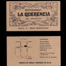 Documentos antiguos: S0013 TARJETA COMERCIAL MODERNISTA DEL RESTAURANT LA QUERENCIA DE BARCELONA. Lote 124577047
