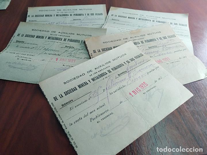 LOTE 5 RECIBOS SOCIEDAD MINERA Y METALURGICA DE PEÑARROYA 1920 1921 (Coleccionismo - Documentos - Otros documentos)