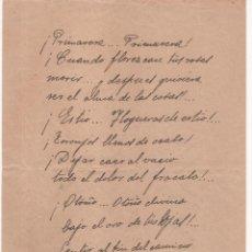 Documentos antiguos: POEMA MANUSCRITO AÑOS 30 ( 5 PÁGINAS ) FIRMADO POR A. Mª FERNÁNDEZ YÁÑEZ DE CÓZAR . Lote 125054679