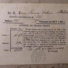 Documentos antiguos: IBI ALICANTE ALCALDÍA CONSTITUCIONAL 1877. Lote 125144860