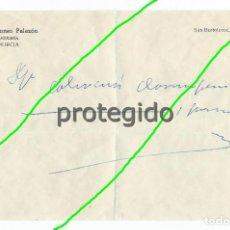 Documentos antiguos: RECETA. DR. ALFONSO PALAZÓN. OCULISTA. MURCIA.. Lote 125228319