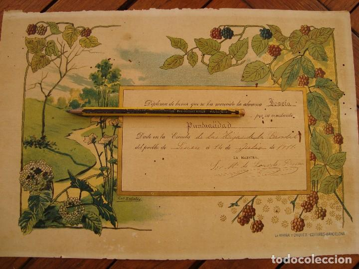 DIPLOMA ESCUELA HIJAS DE LA CARIDAD. SINEU. MALLORCA, 1911. ILUSTRACIONES DE COLL SALIETI. (Coleccionismo - Documentos - Otros documentos)