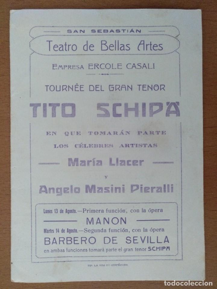 DIPSTICO TEATRO BELLAS ARTES SAN SEBASTIAN AÑOS 10 TITO SCHIPA OPERA BARBERO DE SEVILLA (Coleccionismo - Documentos - Otros documentos)