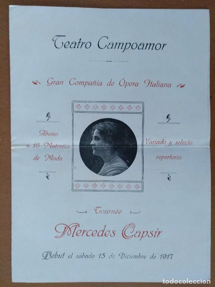 DIPTICO TEATRO CAMPOAMOR OVIEDO OPERA ITALIANA 1917 MERCEDES CAPSIR 16 X 22 CM (APROX) (Coleccionismo - Documentos - Otros documentos)