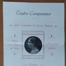 Documentos antiguos: DIPTICO TEATRO CAMPOAMOR OVIEDO OPERA ITALIANA 1917 MERCEDES CAPSIR 16 X 22 CM (APROX). Lote 125393115
