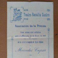 Documentos antiguos: DIPTICO TEATRO ROSALIA DE CASTRO OPERA ITALIANA MERCEDES CAPSIR 14 X 22 CM (APROX). Lote 125393271