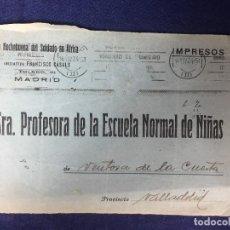 Documentos antiguos: ANTIGUO DOCUMENTO SRA PROFESORA DE LA ESCUELA NORMAL DE NIÑAS VENTOSA DE LA CUESTA VALLADOLID. Lote 125873399