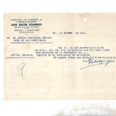 Documentos antiguos: CARTA COMERCIAL. JOSE ROCHE DOMINGO. PUNTO. ZARAGOZA. 1957. Lote 126340963