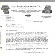Documentos antiguos: CARTA COMERCIAL. CAJAS REGISTRADORAS NATIONAL. MADRID. 1949. Lote 126343667