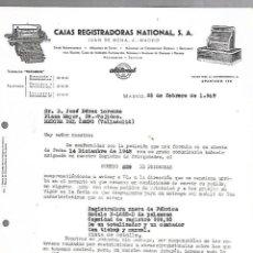 Documentos antiguos: CARTA COMERCIAL. CAJAS REGISTRADORAS NATIONAL. MADRID. 1949. Lote 126343695