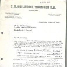 Documentos antiguos: CARTA COMERCIAL. C.M.GUILLERMO TRUNIGER. BARCELONA. 1953. Lote 126344123