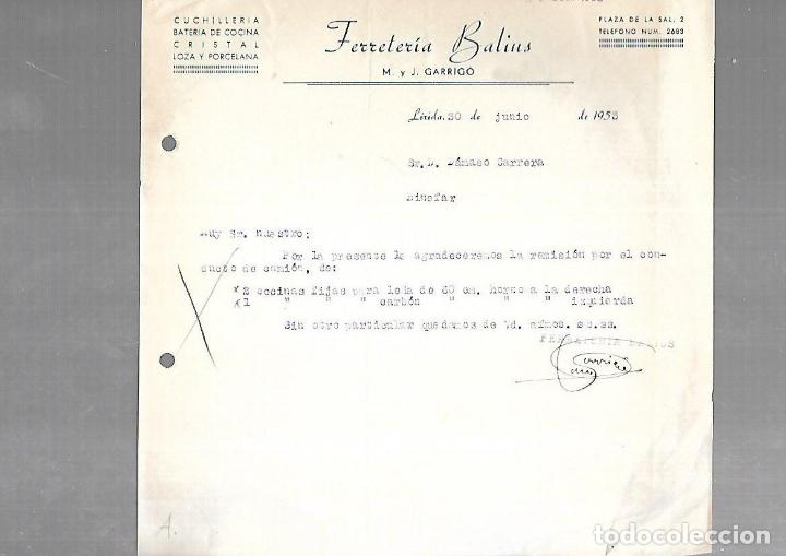 CARTA COMERCIAL. FERRETERIA BALINS. M. Y J.GARRIGO. CUCHILLERIA. 1953. LERIDA (Coleccionismo - Documentos - Otros documentos)