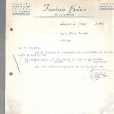 Documentos antiguos: CARTA COMERCIAL. FERRETERIA BALINS. M. Y J.GARRIGO. CUCHILLERIA. 1953. LERIDA. Lote 126417647