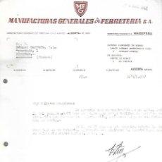 Documentos antiguos: CARTA COMERCIAL. MANUFACTURAS GENERALES DE FERRETERIA. 1957. ALGORTA, VIZCAYA.. Lote 126418571