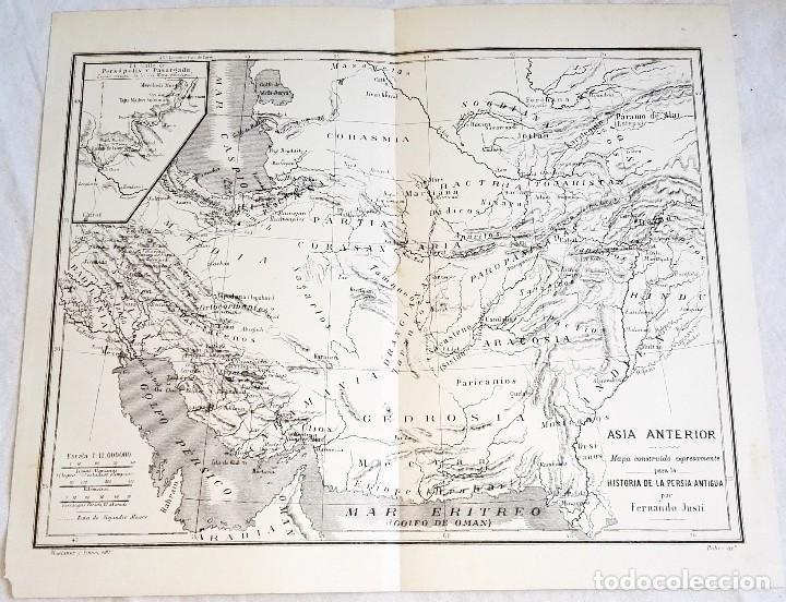 GRABADO DE 1918 - MAPA DE ASIA ANTERIOR - EXTRAÍDO DE LIBRO - 23X27,5CM (Coleccionismo - Documentos - Otros documentos)