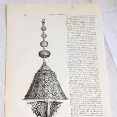 Documentos antiguos: GRABADO DE 1918 - LÁMPARA ÁRABE DE LA MEZQUITA DE LA ALHAMBRA - EXTRAÍDO DE LIBRO - 23,5X14,5CM. Lote 126577087