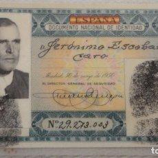 Documentos antiguos: ANTIGUO DNI.DOCUMENTO NACIONAL IDENTIDAD.VERDE.HUELVA 1954. Lote 126755743