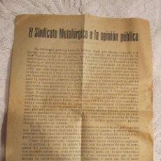Documentos antiguos: ANTIGUA NOTA DEL SINDICATO METALURGICO A LA OPINION PUBLICA, ORIGINAL DE ENTRE 1899 Y 1910. Lote 126878135