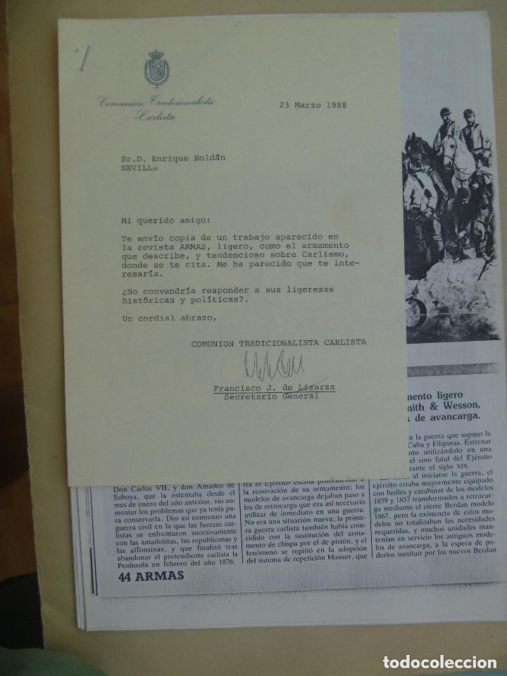 CARTA COMUNION TRADICIONALISTA CARLISTA A ESCRITOR Y ARTICULO SOBRE ARMAS GUERRA CARLISTA, 1988 (Coleccionismo - Documentos - Otros documentos)