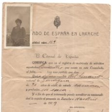 Documentos antiguos: CONSULADO DE ESPAÑA EN LARACHE - REGISTRO NACIONALIDAD ESPAÑOLA - VALE POR UN AÑO 1919. Lote 127619283