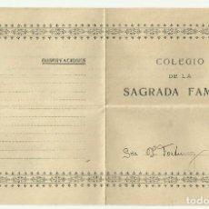 Documentos antiguos: COLEGIO SAGRADA FAMILIA 1924 - BARCELONA - NOTAS FIRMADO LA PREFECTA - PIEDAD, LABORES, APLICACION. Lote 127988827