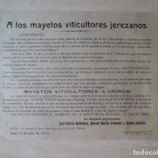 Documentos antiguos: PANFLETO CONVOCATORIA DEFENSA DE VITICULTORES REPUBLICA. Lote 128113615