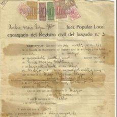 Documentos antiguos: ACTA NACIMIENTO - JUTJAT POPULAR LOCAL BARCELONA 1938 REGISTRO CIVIL - PLENA GUERRA CIVIL SELLOS. . Lote 128208451